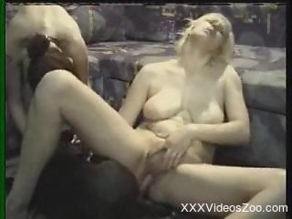 Big-boobed blondie gets her crack nailed in ass to pussy pose