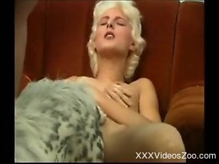 Bleached hottie and spotted doggy in perfect homemade XXX