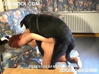 Redheaded hoe servicing her big-dicked doggo