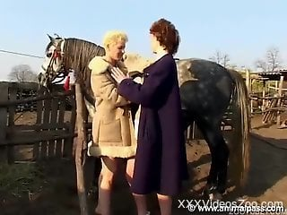 Lesbian country girls decide to fuck a horse