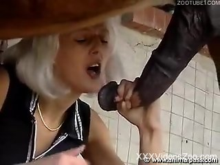 Passionate fuck scene with a blonde a stallion