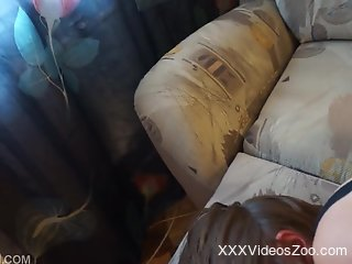 Sweet amateur loves the big dick of her dog in her pussy